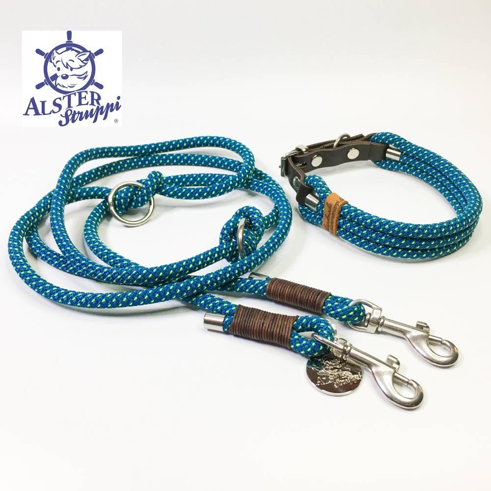 Leine Halsband Set verstellbar petrol, neongelb, Wunschlänge Bild 1