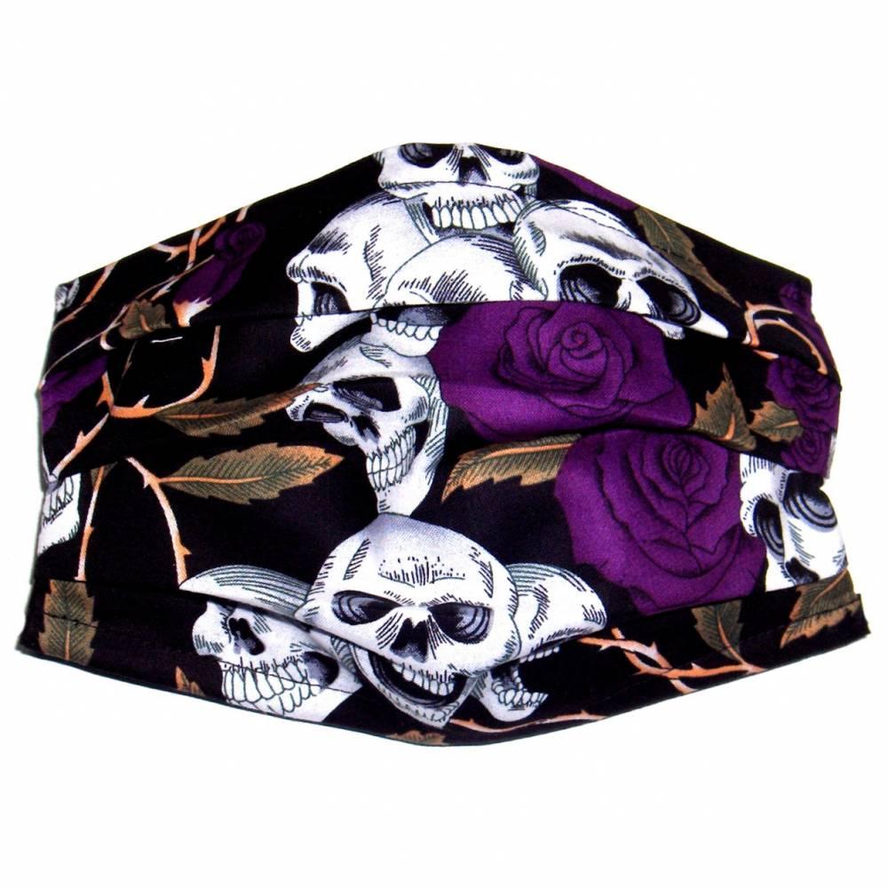 """MuNaske - Behelfs-Mund-Nase-Maske """"Skulls Violet Roses"""", Größe M, genäht aus Baumwollstoff, mit Nasenbügel Bild 1"""