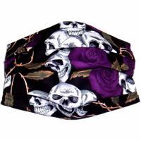 """MuNaske """"Skulls Violet Roses"""", Größe M, als Cover über OP-Masken tragbare Behelfs-Mund-Nase-Ma Bild 1"""