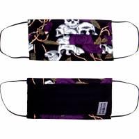 """MuNaske - Behelfs-Mund-Nase-Maske """"Skulls Violet Roses"""", Größe M, genäht aus Baumwollstoff, mit Nasenbügel Bild 2"""