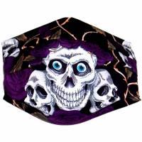 """MuNaske - Behelfs-Mund-Nase-Maske """"Skulls Violet Roses"""", Größe M, genäht aus Baumwollstoff, mit Nasenbügel Bild 3"""