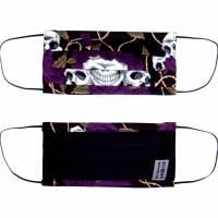 """MuNaske - Behelfs-Mund-Nase-Maske """"Skulls Violet Roses"""", Größe M, genäht aus Baumwollstoff, mit Nasenbügel Bild 4"""