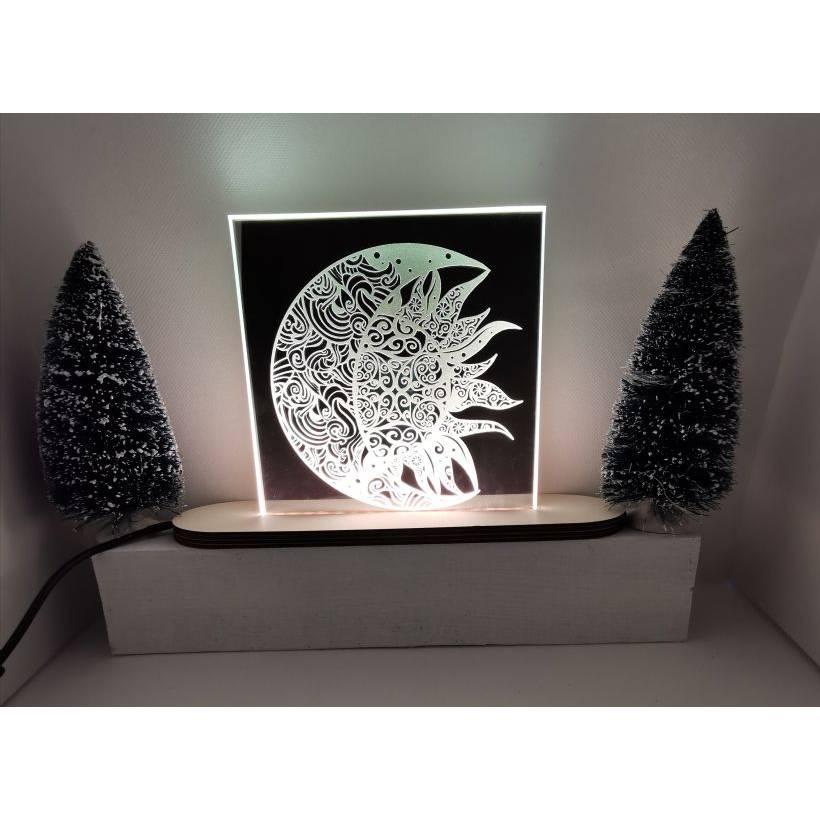 Spiegellampe eckig, Sonne und Mond Bild 1