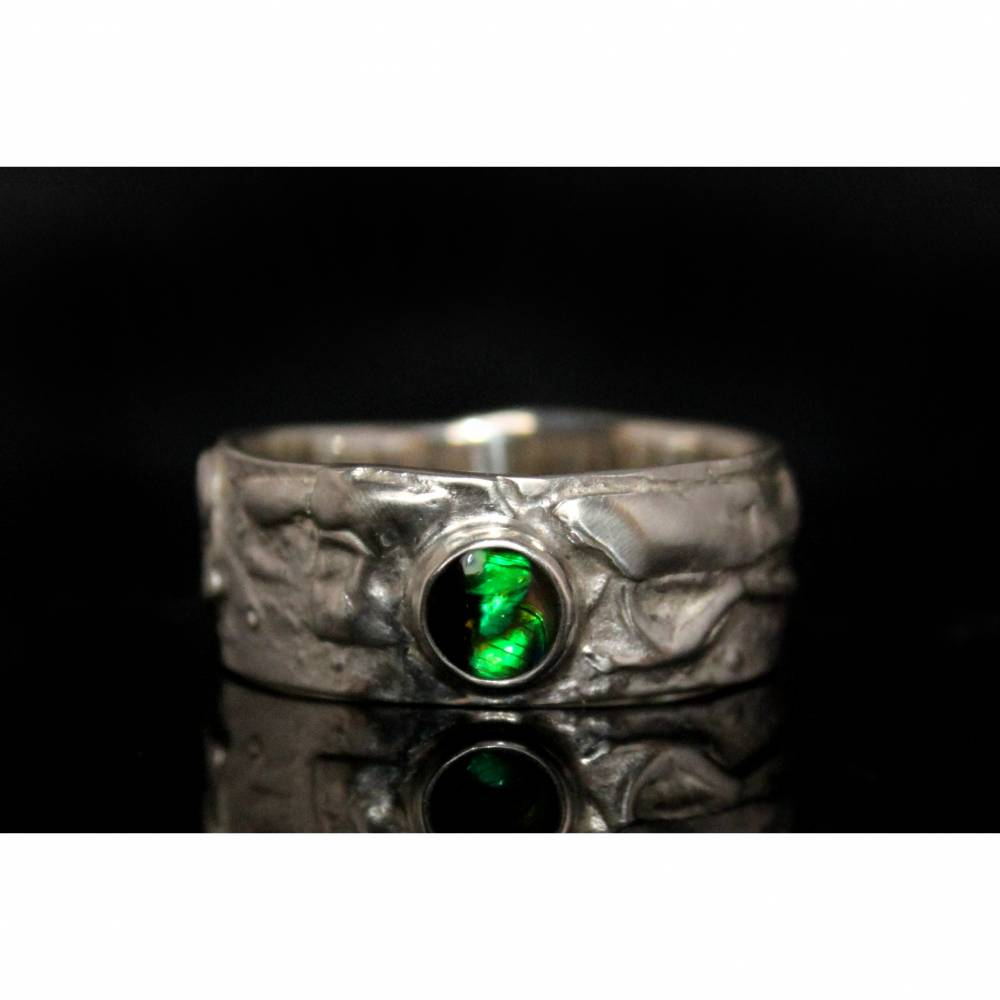 Opalring - Silberring mit Top Opal! Einzelstück vom Goldschmied! Kunstvoller Ring aus 925 Silber - Schwarzer Opal Bild 1