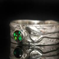 Opalring - Silberring mit Top Opal! Einzelstück vom Goldschmied! Kunstvoller Ring aus 925 Silber - Schwarzer Opal Bild 2