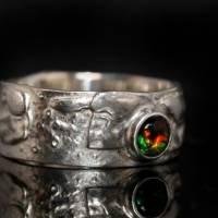 Opalring - Silberring mit Top Opal! Einzelstück vom Goldschmied! Kunstvoller Ring aus 925 Silber - Schwarzer Opal Bild 3