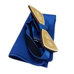 Glückspiel Holzfliege Schleife Fliege aus Holz Herrenfliege Poker Blau Bild 2