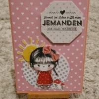 Gratulationskarte  Mädchen , Herzen , Sonne Bild 1