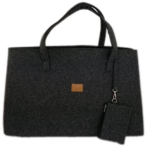 Big Shopper große Damentasche Handtasche Einkauf Henkeltasche Schultertasche Filztasche vegan vegie Tasche schwarz melan