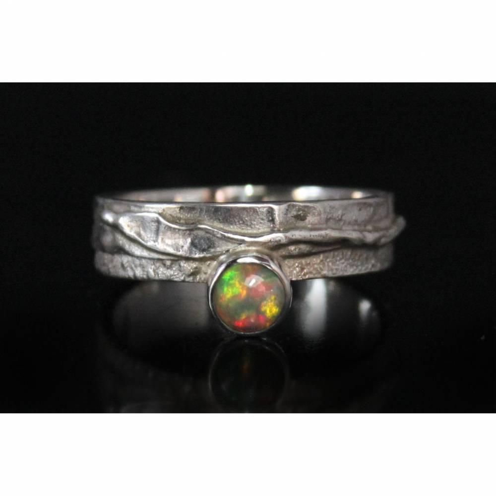 Unikat Opalring / Silberring mit Opal - kunstvoll handgemacht aus 925er Silber - Designerstück Goldschmiedering Unikat Bild 1