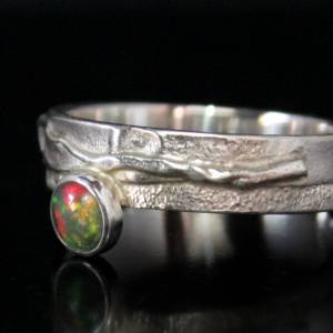 Unikat Opalring / Silberring mit Opal - kunstvoll handgemacht aus 925er Silber - Designerstück Goldschmiedering Unikat Bild 3