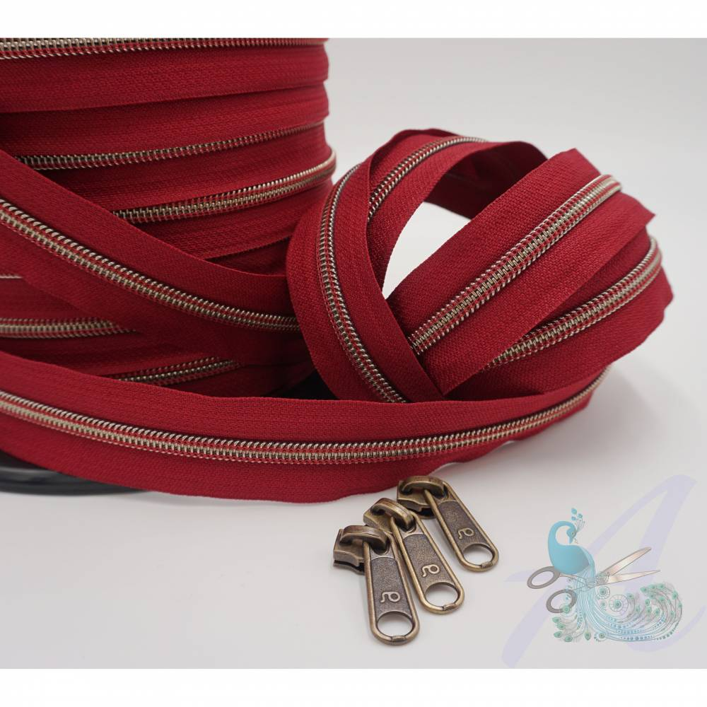 1m endlos Reißverschluss inkl. 3 Zippern - breit metallisiert bordeaux - altmessing Bild 1