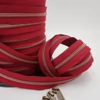 1m endlos Reißverschluss inkl. 3 Zippern - breit metallisiert bordeaux - altmessing Bild 2