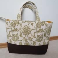 Handtasche, Tragetasche, Jeans, Upcycling, Vintage, Blumenmuster Bild 1