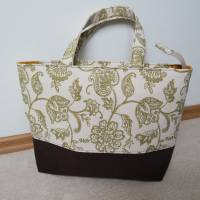 Handtasche, Tragetasche, Jeans, Upcycling, Vintage, Blumenmuster Bild 2
