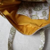 Handtasche, Tragetasche, Jeans, Upcycling, Vintage, Blumenmuster Bild 5