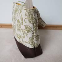 Handtasche, Tragetasche, Jeans, Upcycling, Vintage, Blumenmuster Bild 6