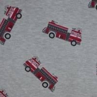 Alpenfleece Stoff grau mit Feuerwehr Fahrzeuge 50 x 145 cm Kuschelsweat Bild 1