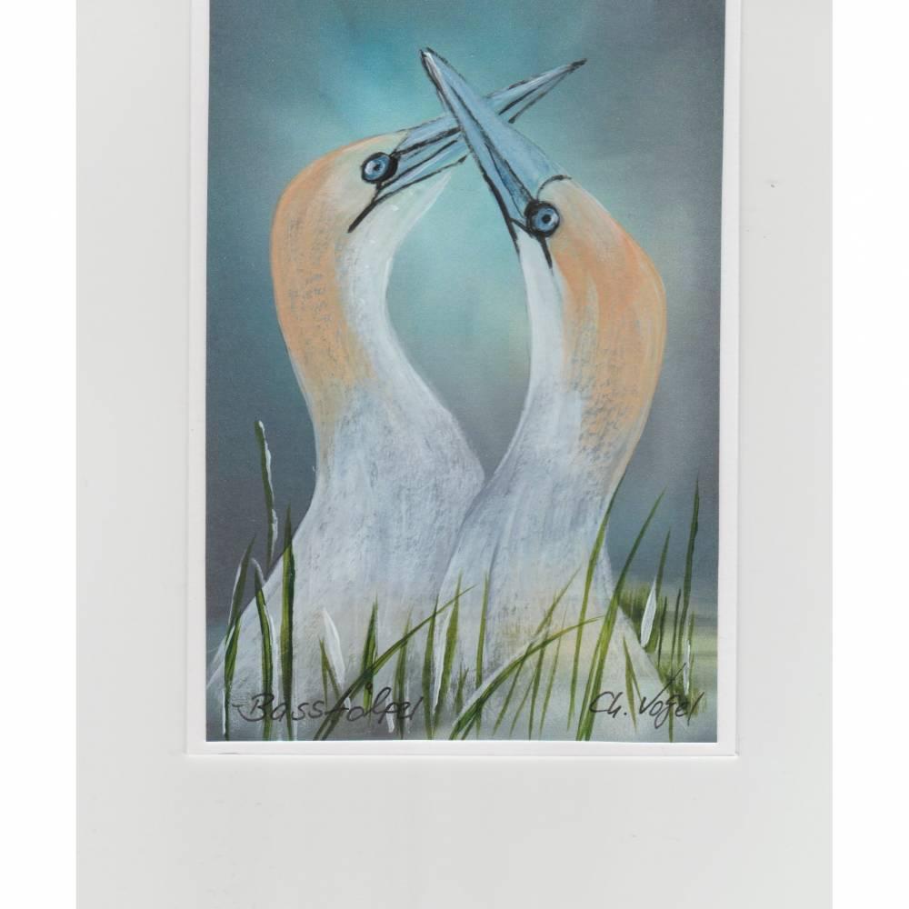 Hochzeitskarte,  Valentinsgruß, Liebesbrief-  Basstölpel-  handgemalt Bild 1