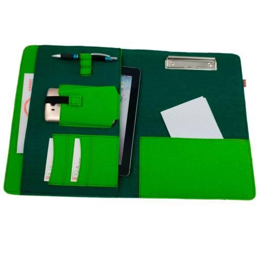 DIN A4 Tasche Hülle Schutzhülle für Tablet Organizer Büro Schule eBook grün