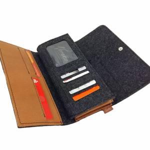 Filztasche Portemonnaie Geld-Börse Geldtasche Geldbörse Geldbeutel Brieftasche Schwarz meliert Bild 2