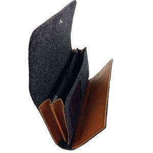 Filztasche Portemonnaie Geld-Börse Geldtasche Geldbörse Geldbeutel Brieftasche Schwarz meliert Bild 4