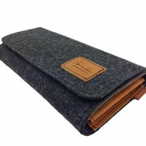 Filztasche Portemonnaie Geld-Börse Geldtasche Geldbörse Geldbeutel Brieftasche Schwarz meliert Bild 5