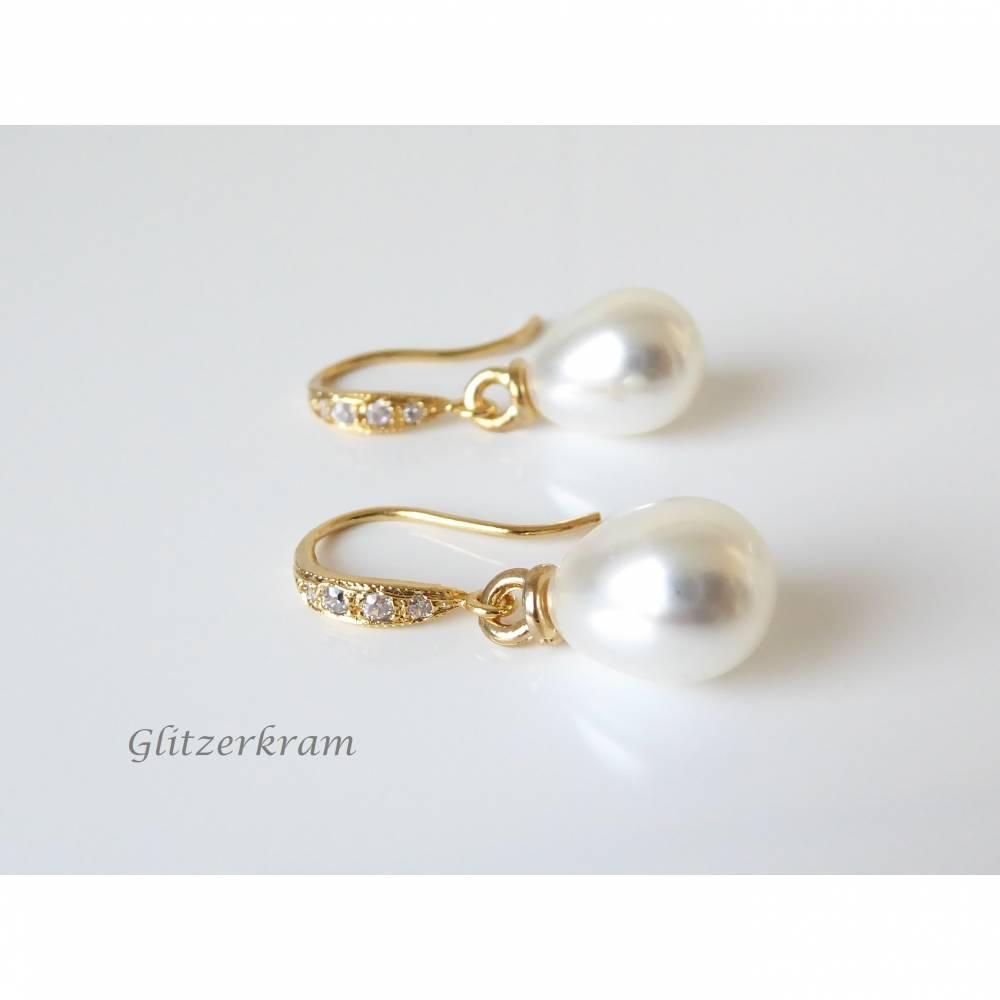 Elegante Ohrringe mit cremefarbenen Perlentropfen, Ohrhaken 925 Sterling Silber vergoldet, Brautschmuck, Hochzeit, Ohrhänger Bild 1