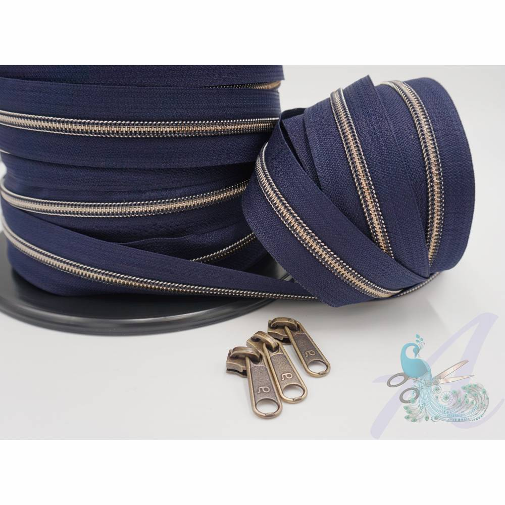 1m endlos Reißverschluss inkl. 3 Zippern - breit metallisiert mitternachtsblau - altmessing Bild 1