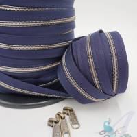 1m endlos Reißverschluss inkl. 3 Zippern - breit metallisiert mitternachtsblau - altmessing Bild 2