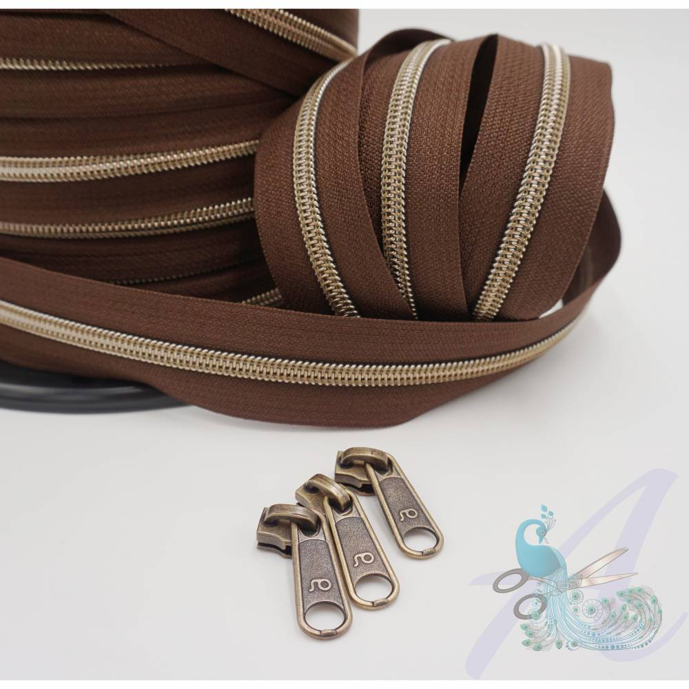 1m endlos Reißverschluss inkl. 3 Zippern - breit metallisiert schoko - altmessing Bild 1