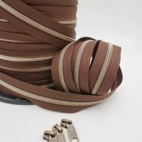 1m endlos Reißverschluss inkl. 3 Zippern - breit metallisiert schoko - altmessing Bild 2