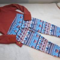 Zweiteiler Inuit Dreams Pulli mit langen Arm und Hosen Set.  Schlafanzug Jersey Stoff Gr. 110-5 Jahre Eskimo Totem Moti Bild 3