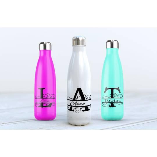 Edelstahl-Trinkflasche personalisiertes Weihnachtsgerschenk - 500ml Thermoflasche mit Wunschnamen, Monogram Bild 1