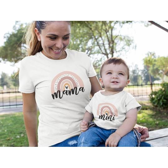"""Set - Mama und Kind Shirt """"Mama und Mini"""" mit Regenbogen Bild 1"""