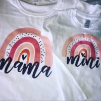 """Set - Mama und Kind Shirt """"Mama und Mini"""" mit Regenbogen Bild 4"""