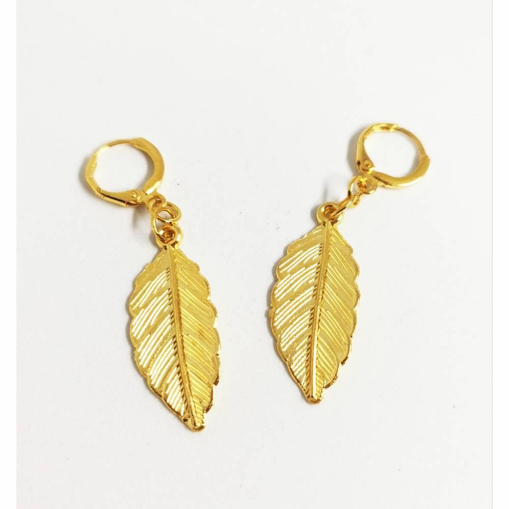 Blatt- Ohrringe goldfarben Bild 1