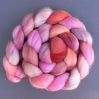 105 g 18,5 mic Merino super fein Schurwolle handgefärbte Spinnfasern, für Combo u.Fraktal, rot pink violett orange weiß Bild 1