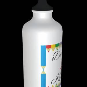 """Alu Trinkflasche zur Einschulung """"Du bist 1. Klasse!"""" + 2 Verschlüsse 600ml Bild 3"""