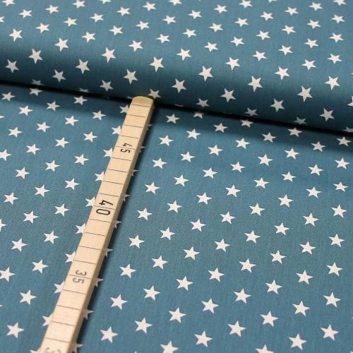 Baumwolle Popeline kleine Sterne auf petrol