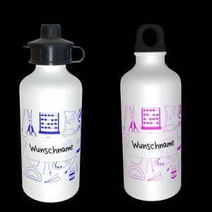 Alu Trinkflasche 600ml mit Wunschnamen  + 2 Verschlüsse Bild 1
