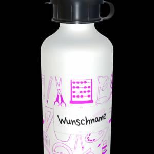 Alu Trinkflasche 600ml mit Wunschnamen  + 2 Verschlüsse Bild 3
