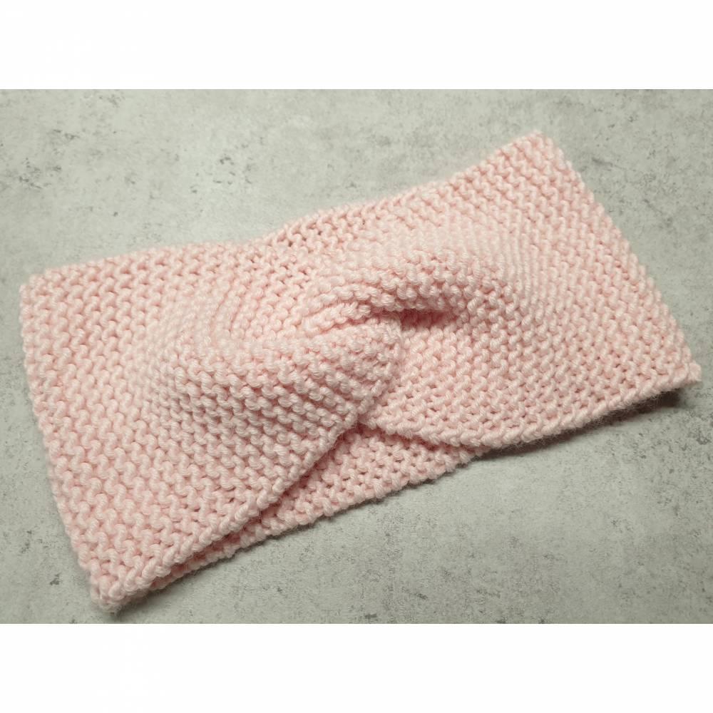 Twist-Stirnband, gestrickt, pastell rosa Bild 1