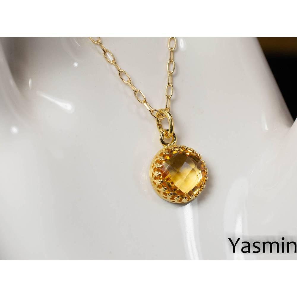 Facettierter Citrin an vergoldeter 925er Silberkette Bild 1