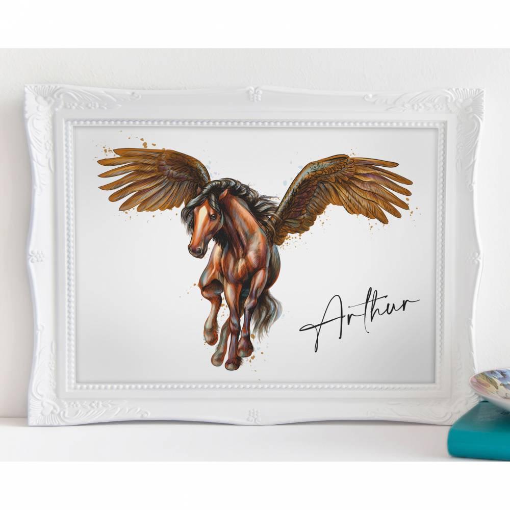 Pferd mit Flügeln - A4 / A3 - Kunstdruck - Poster - Wandbild - Personalisiert Bild 1