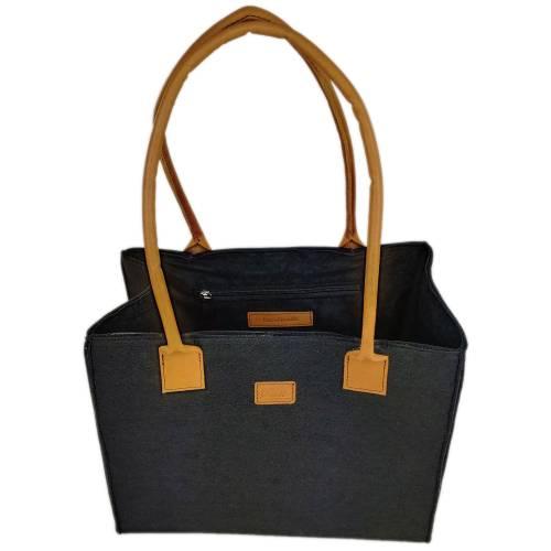 Tasche Shopper Damentasche Handtasche Einkaufen Henkeltasche Henkel Filztasche Filz mit Lederhenkel schwarz meliert