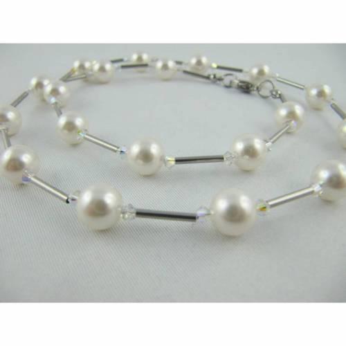 Kette Weiß  / Silber Perlen (335)