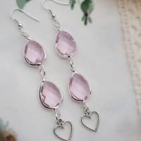 Ohrringe Kristalltropfen versilbert rosa geschliffen lang Herz Brautschmuck Ohrhänger romantisch Earrings  Bild 1