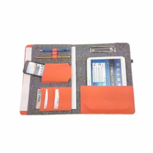 DIN A4 Organizer Einband mit Halteklammer Tasche Hülle für Tablet eBook smartphone, Grau Orange