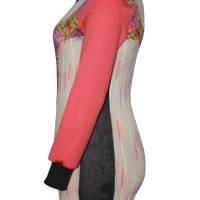 Farbenfroher Designer Pulli -Eco Fashion Art Print *Seerose*Pink-100% Biobaumwolle -Sweatshirt Kleid Langarm hochwertig Bild 2